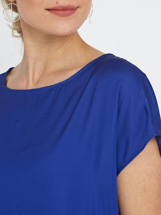 Lucy Blue Satin Blouse