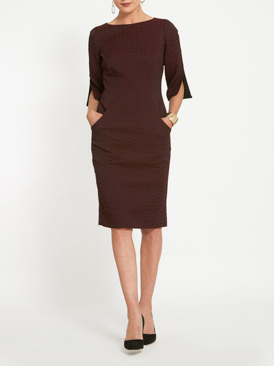 Vivienne Burgundy Jacquard Dress
