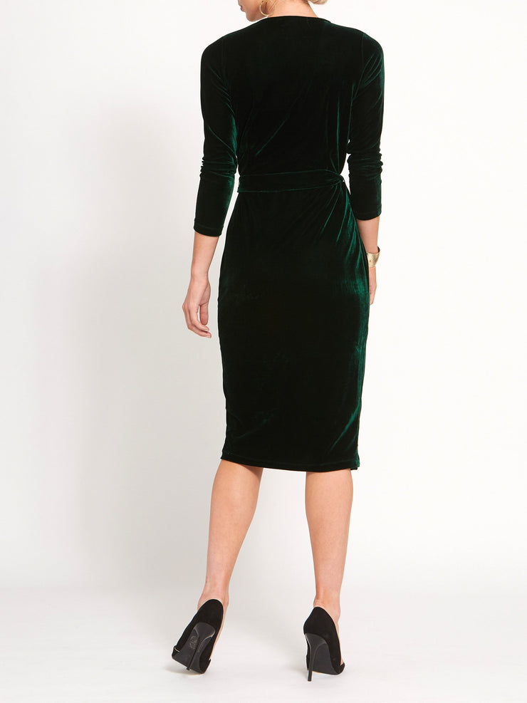 Jordan Forest Green Velvet Dress