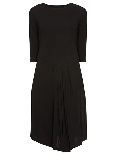 Front Pleat Black Dress