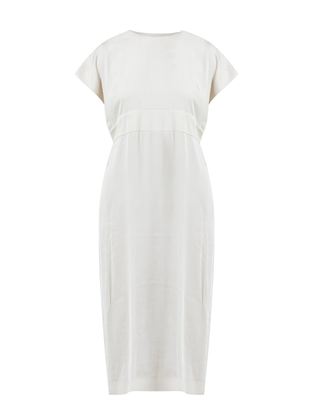 Helen McAlinden Shiv Ivory Dress in a Woven Satin. Classic Occasionwear, modernised.  The Perfect Wedding Guest Dress.