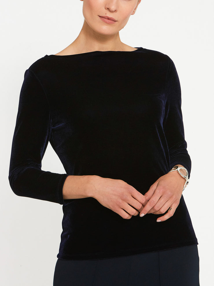 Teagan Navy Velvet Top