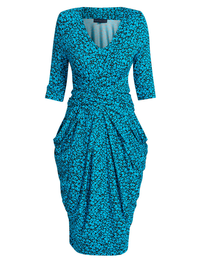 Vintage Turquoise / Black Dress