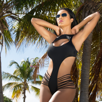 Dare Devil Strappy Black Open Front Monokini