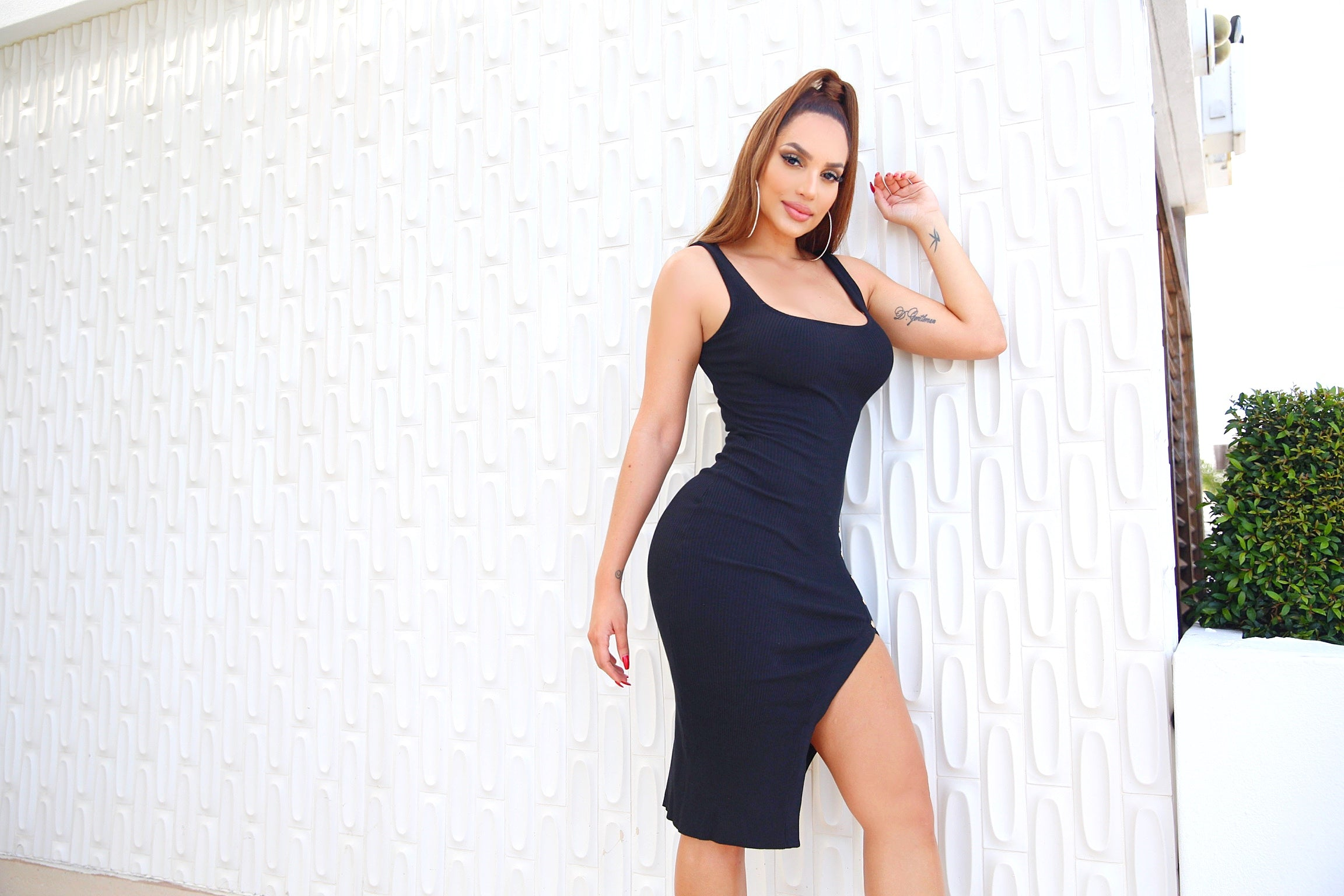 Feeling So High Slit (Black) Dress