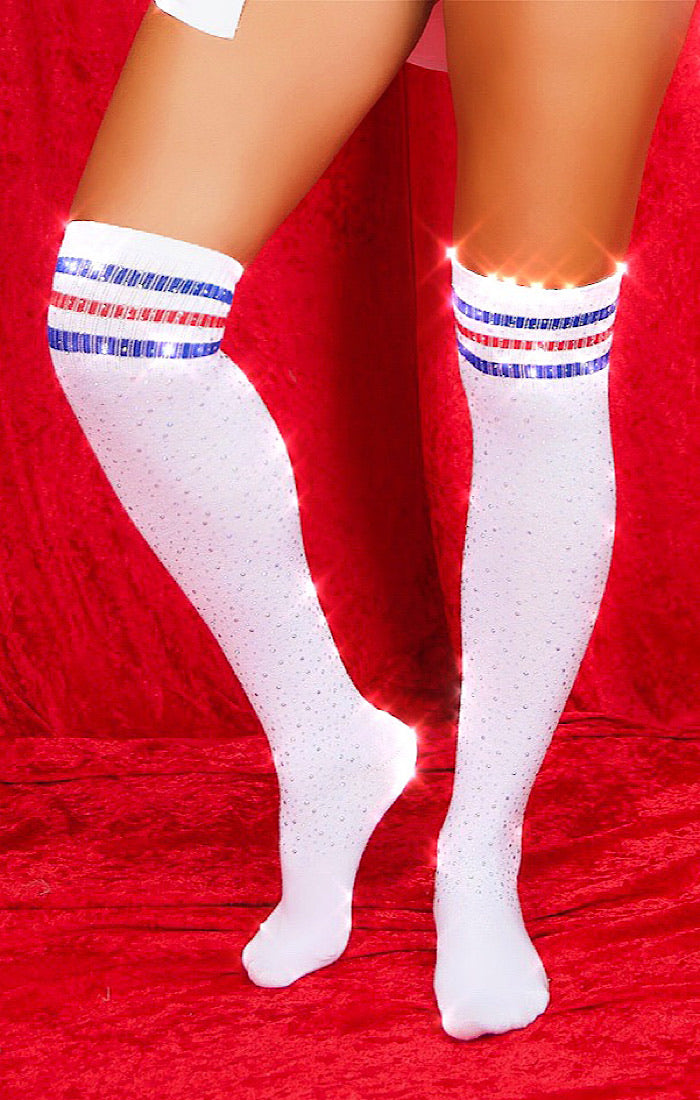 Monday Nights Diamond Socks (White)
