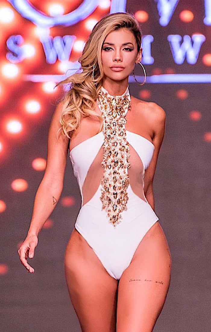 Bow Down to the queen White Monokini