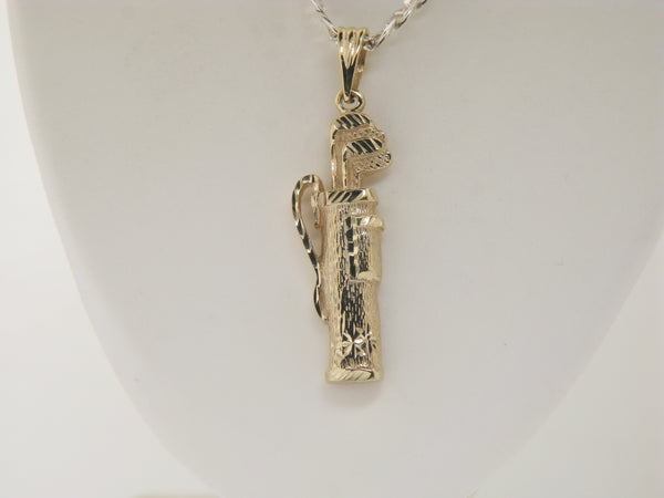 14K Yellow Gold Golf Bag Pendant/Charm (Estate Jewelry)