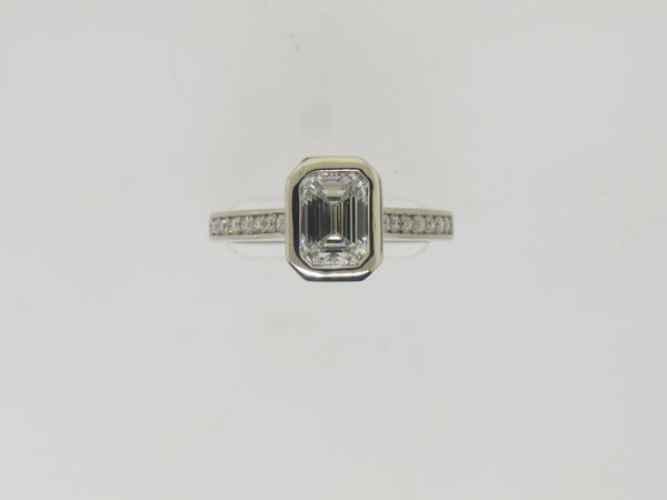 Emerald Cut Diamond In Wide Edge Bezel