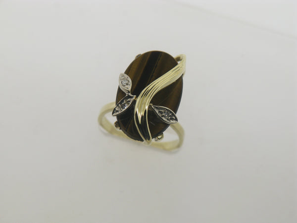 14K Yellow Gold Tiger's Eye and Diamond Ring Size 5.5 (Estate Jewelry)