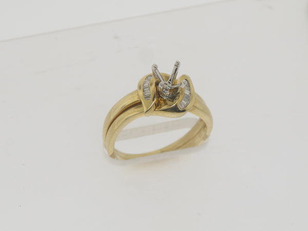 14k Yellow Gold Diamond Wedding Set Complimentary Mounting Size 6.75 (Sale)