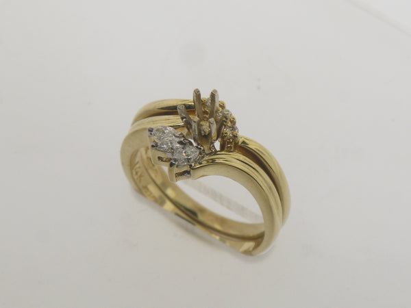 14K Yellow Gold Diamond Wedding Band and Engagement Ring