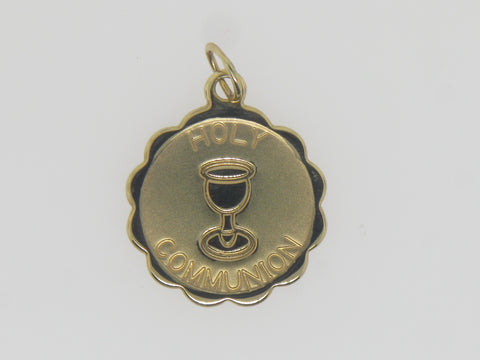 14K Yellow Gold Holy Communion Disc Medal Pendant