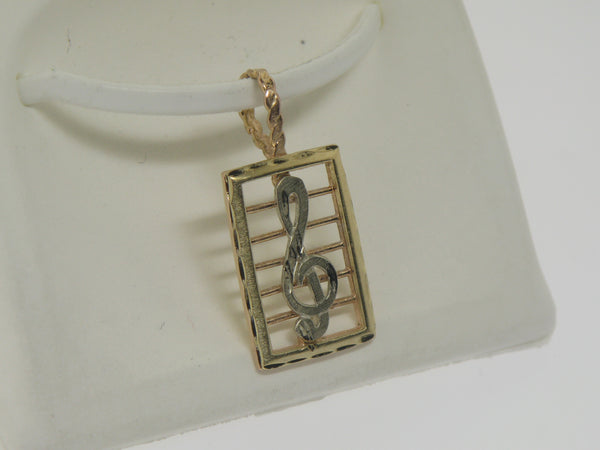 14K Yellow, Rose, and White Gold Musical Note Pendant (Estate Jewelry)