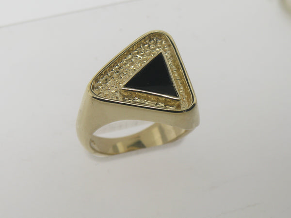 14K Yellow Gold Onyx Triangular Ring Size 8-3/4 (Estate Jewelry)
