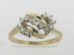 14K Yellow Gold Diamond S-Swirl Ring .32 CTTW