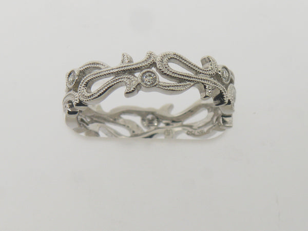 18K White Gold 6 Diamond Pierced Eternity Band .11CTTW
