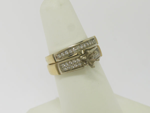 14k Yellow Gold Diamond Wedding Set Complimentary Mounting Size 6.75