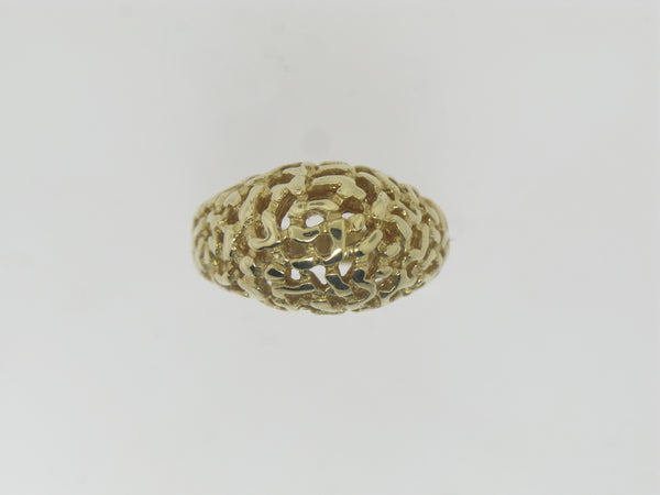 14k Yellow Gold Nugget Style Dome Ring Size 8