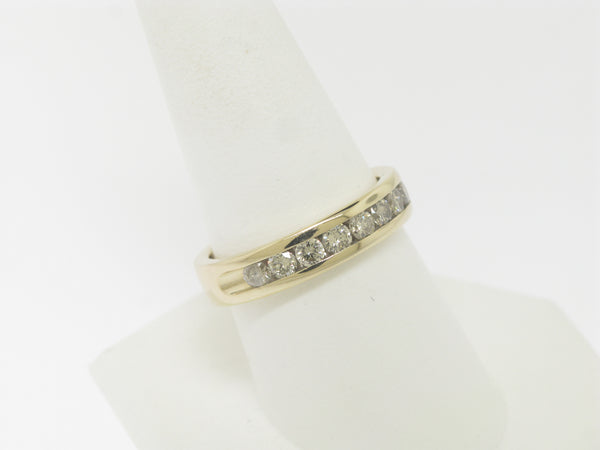 14K Yellow Gold 10 Diamond Ring Band 1 CTTW Size 9-1/8 (Estate Jewelry)