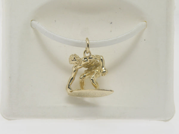 14K Yellow Gold Surfer Charm / Pendant (Estate Jewelry)