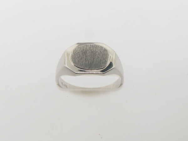 14K White Gold Signet Ring with Sideways Signet Area (Brand New)