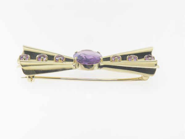 14K Yellow Gold Amethyst Pin / Brooch (Estate Jewelry)