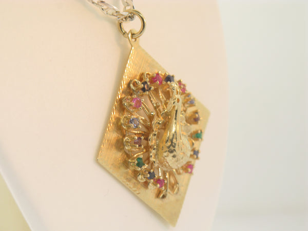 14K Yellow Gold Peacock Pendant with Synthetic Stones (Estate Jewelry)