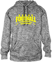 Bacon Academy Football Graphite Hoodie with Embroidered Player Last Name and Number on Sleeve badger 1463 with Logo on front
