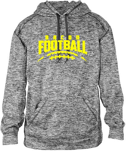 Bacon Academy Football Graphite Hoodie badger 1463 with Logo on front