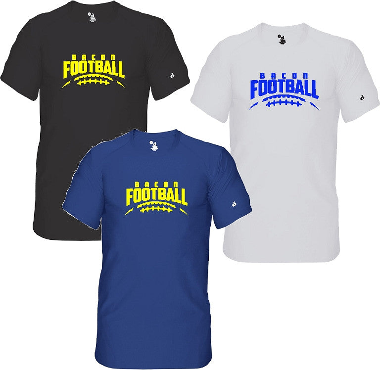 Bacon Academy Football Fitted Battle Compression Tee Badger 4521