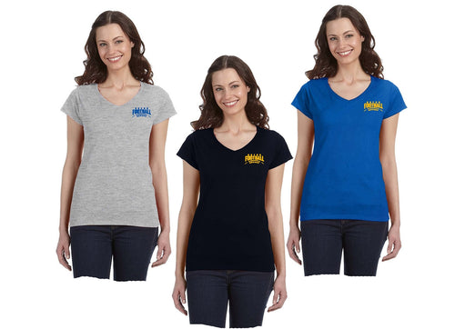 Gildan Ladies' SoftStyle® 4.5 oz. Fitted V-Neck T-Shirt Left Chest Logo
