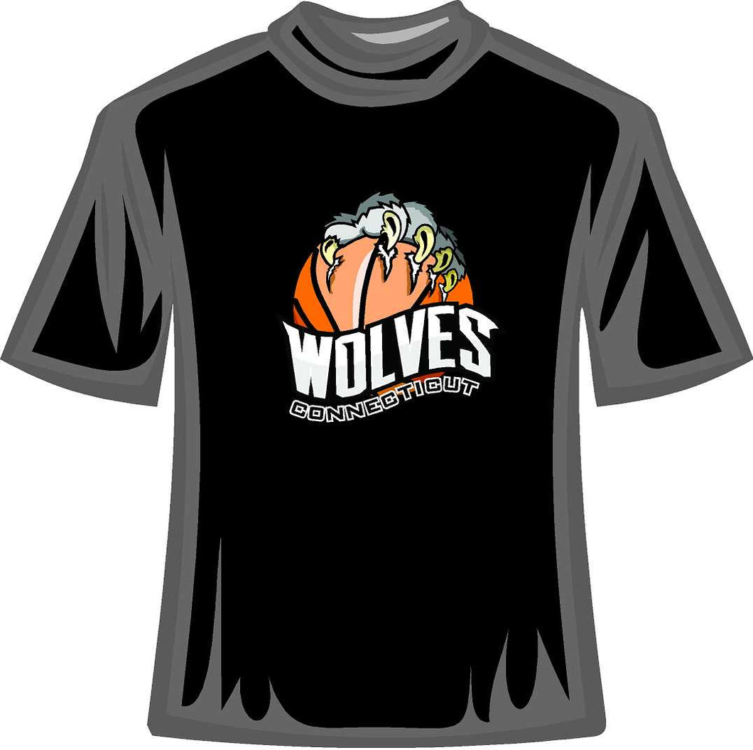 Conneticuit Wolves Basketball Tee Shirt Basketball with Claw