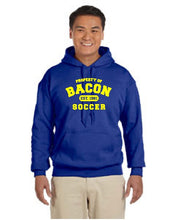 Bacon Soccer Gildan 185 Adult Heavy Blend™ 8 oz., 50/50 Hood in ASH, Royal and gold