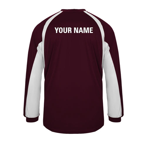 Youth Long Sleeve Warm Up Shirt With Players Name on Back