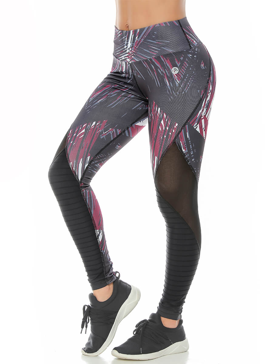 INDIA GRAY / WINE PRINTED LEGGINGS
