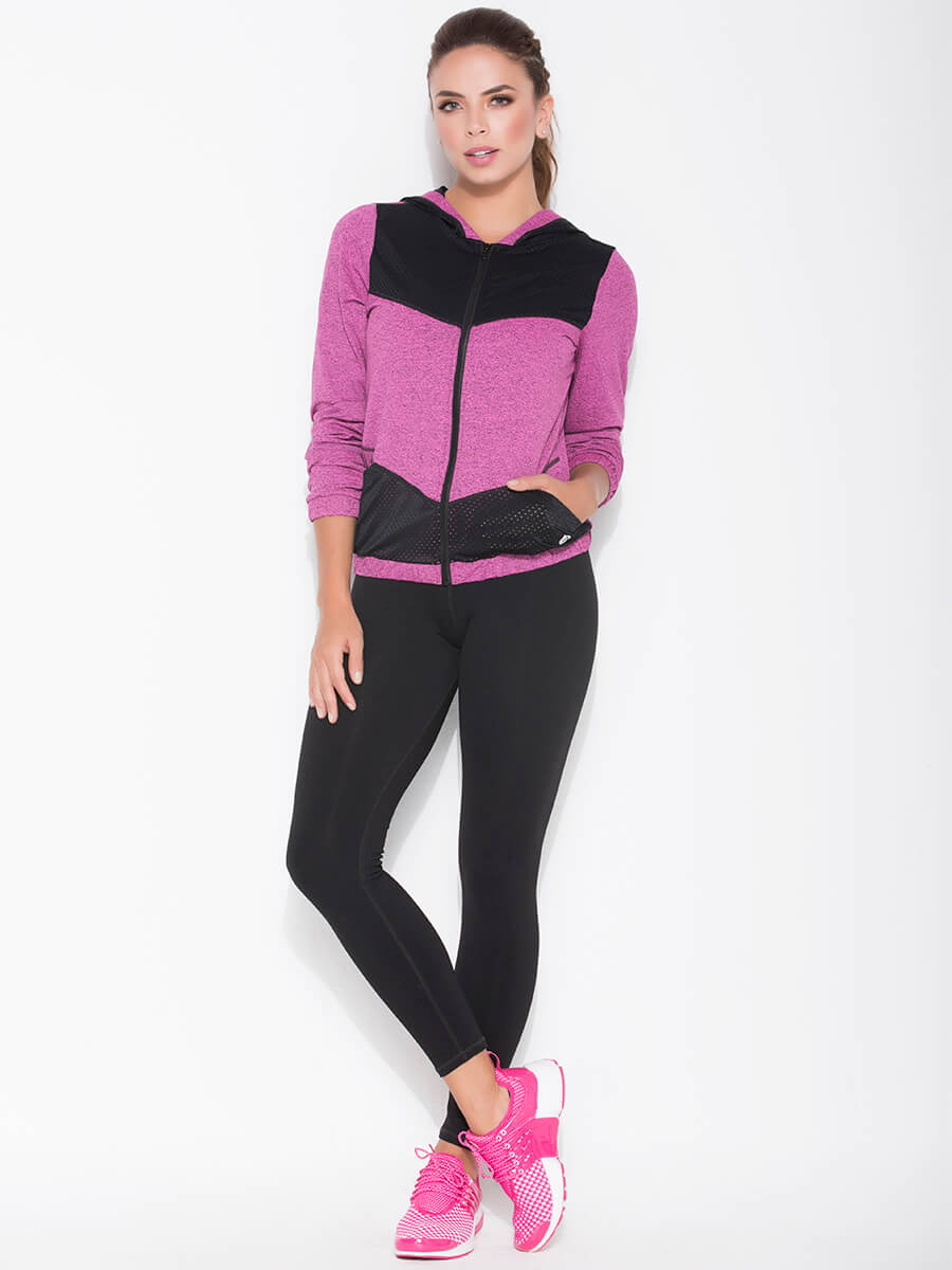 pink sports jacket and black leggings front