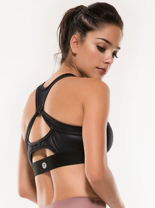 Aliza black sports bra