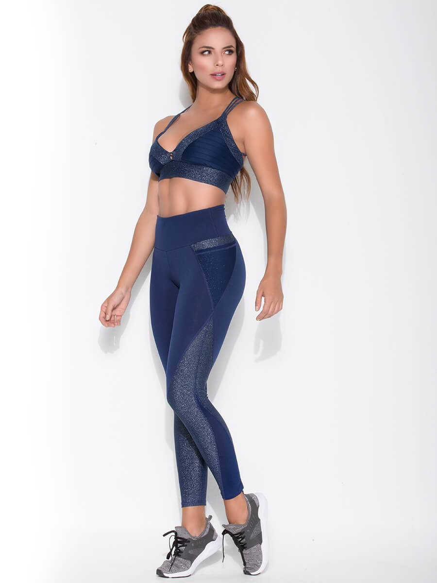 Navy sports bra and leggings side