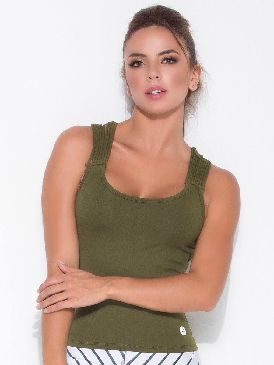 SALLIE ARMY GREEN TANK TOP