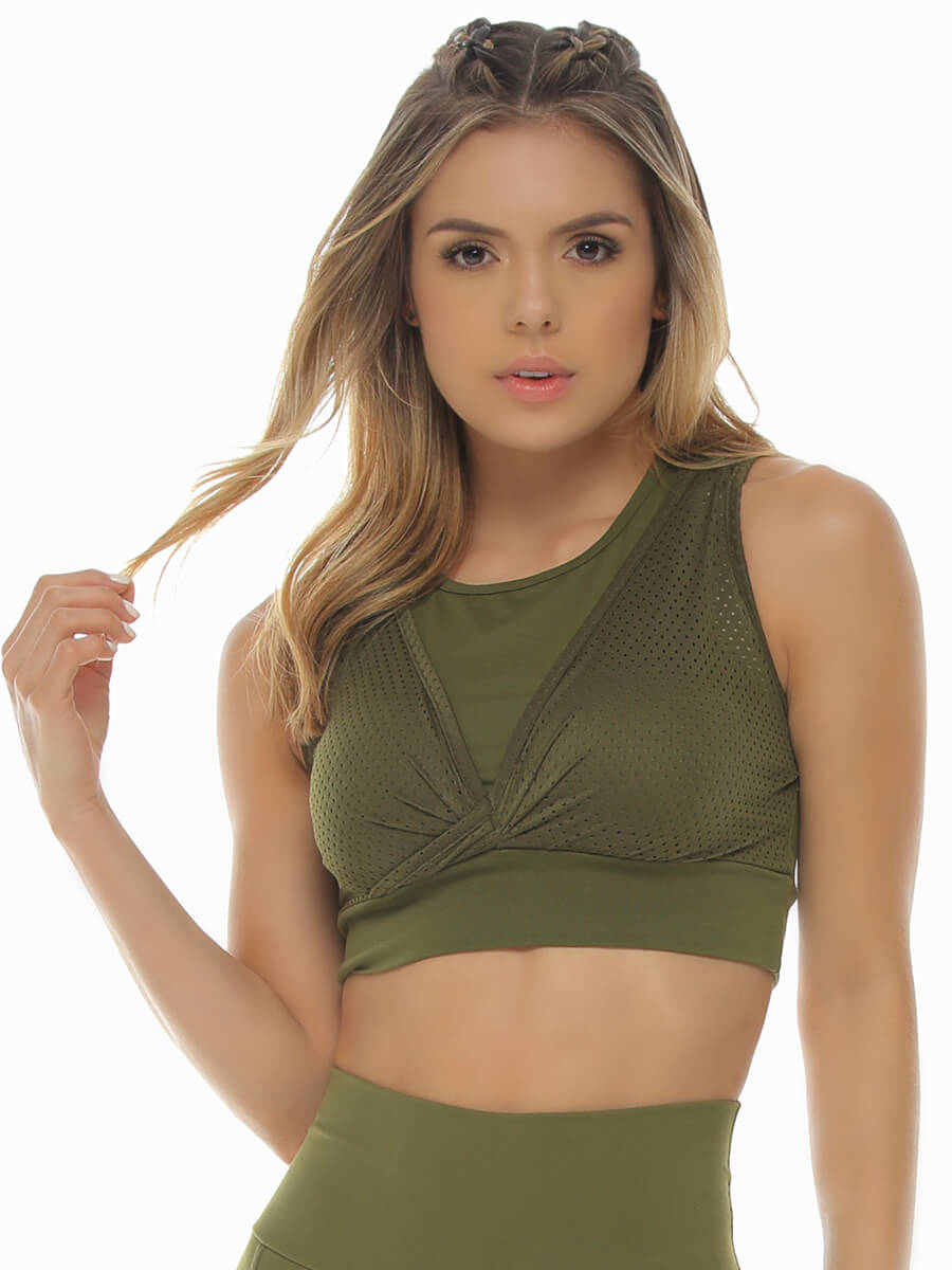 EMMA ARMY GREEN SPORTS BRA