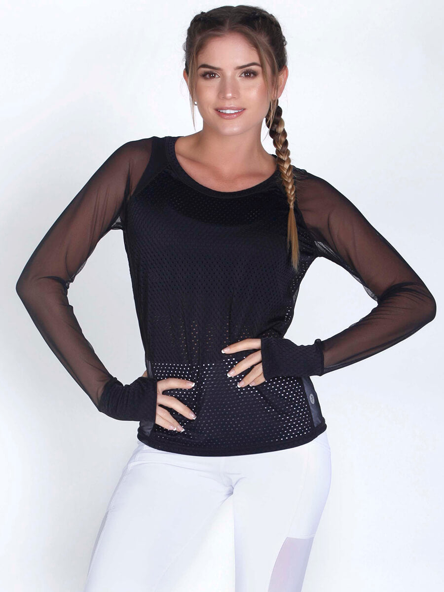 VERO BLACK LONG SLEEVE MESH