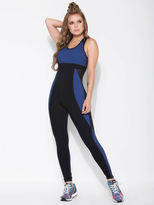 SHARLENE BLUE AND BLACK JUMPSUIT