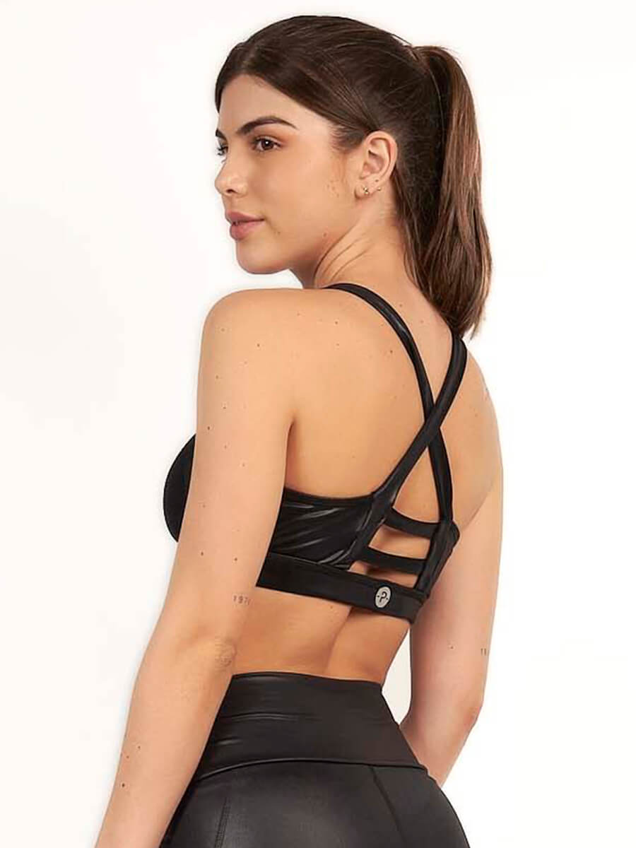 PRISCILLA BLACK CAMO SPORTS BRA