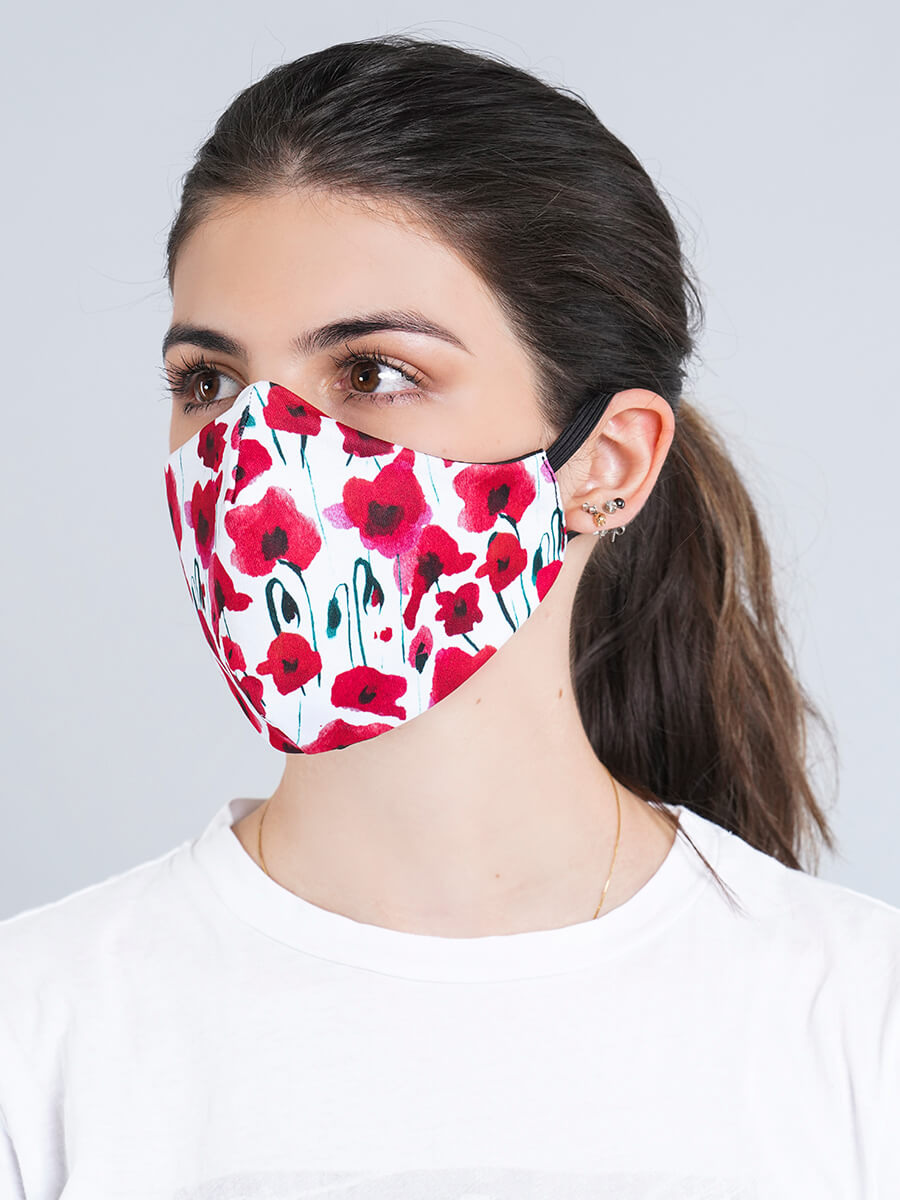 RED FLOWERS REVERSIBLE FACE MASK