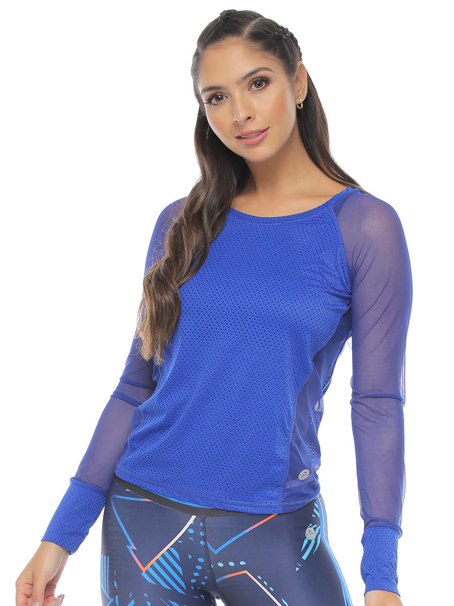 VERO BLUE LONG SLEEVE MESH
