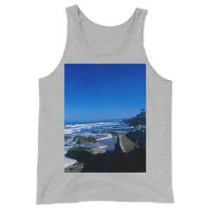"""Pacific View"" Tank Top - Athletic Heather - Beachwear by Space Is Black Apparel"