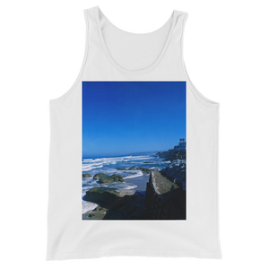 """Pacific View"" Tank Top - White - Beachwear by Space Is Black Apparel"