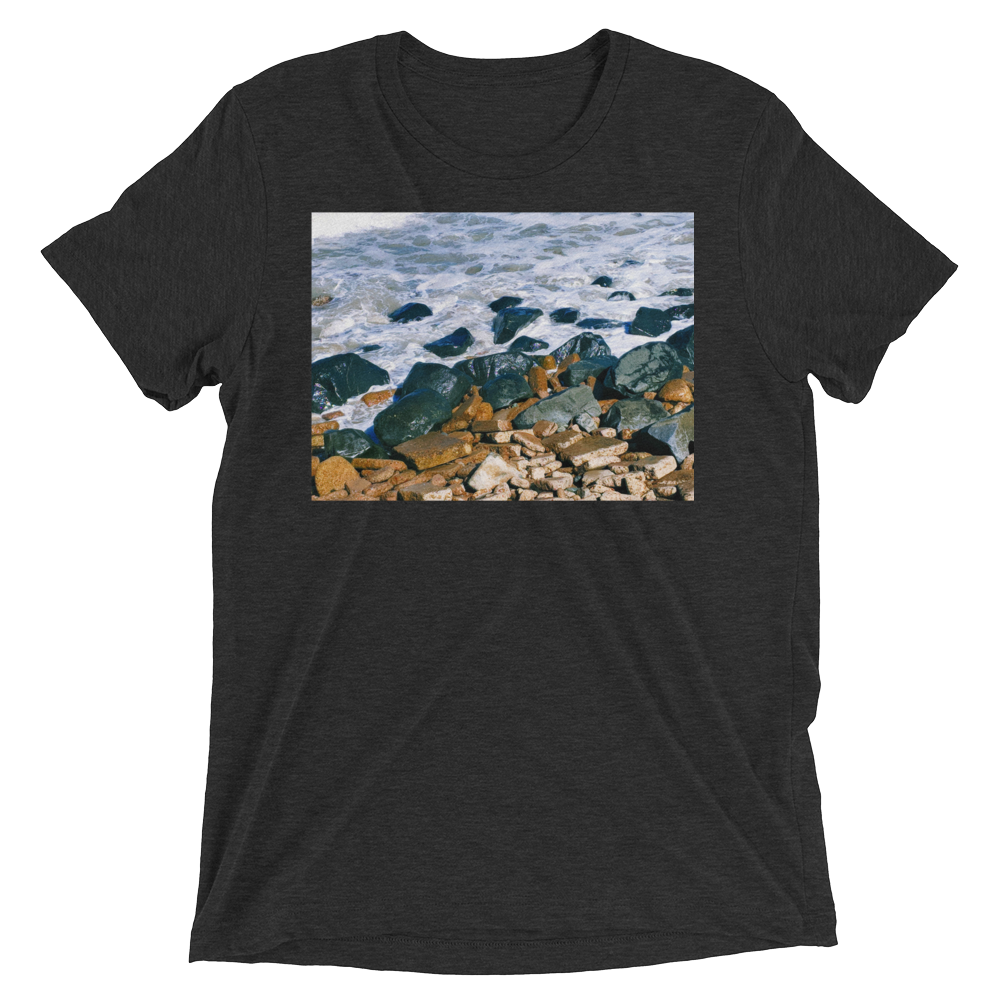 """Pacific Rocks"" - Charcoal-Black Triblend - Beachwear by Space Is Black Apparel"