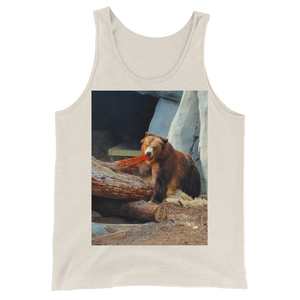 """Cali Bear"" Tank Top - Oatmeal Triblend - Beachwear by Space Is Black Apparel"